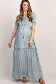 Mint Green Embroidered Short Sleeve Maternity Maxi Dress
