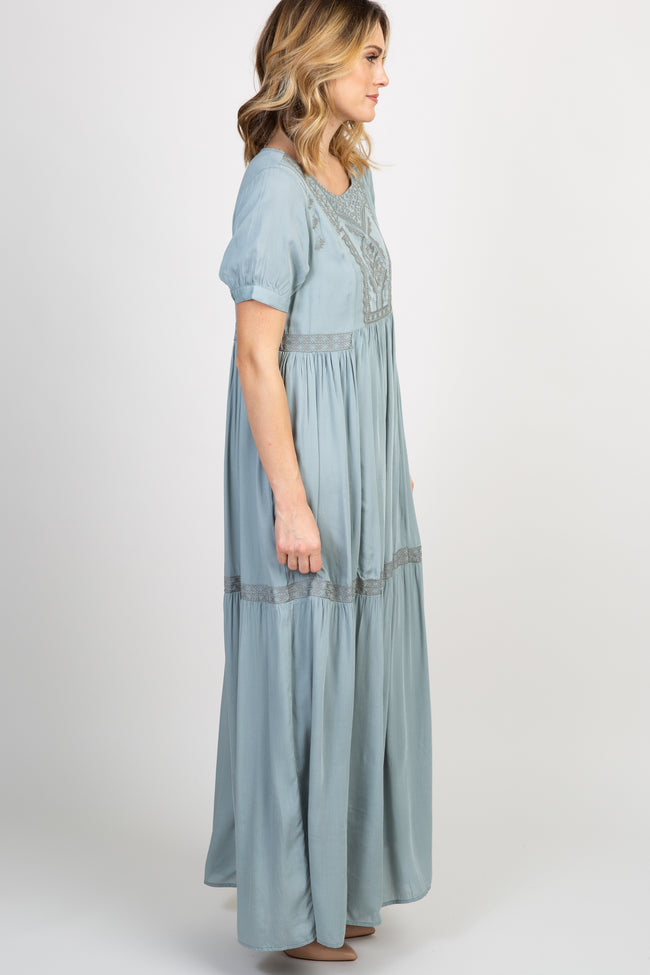 Mint Green Embroidered Short Sleeve Maxi Dress