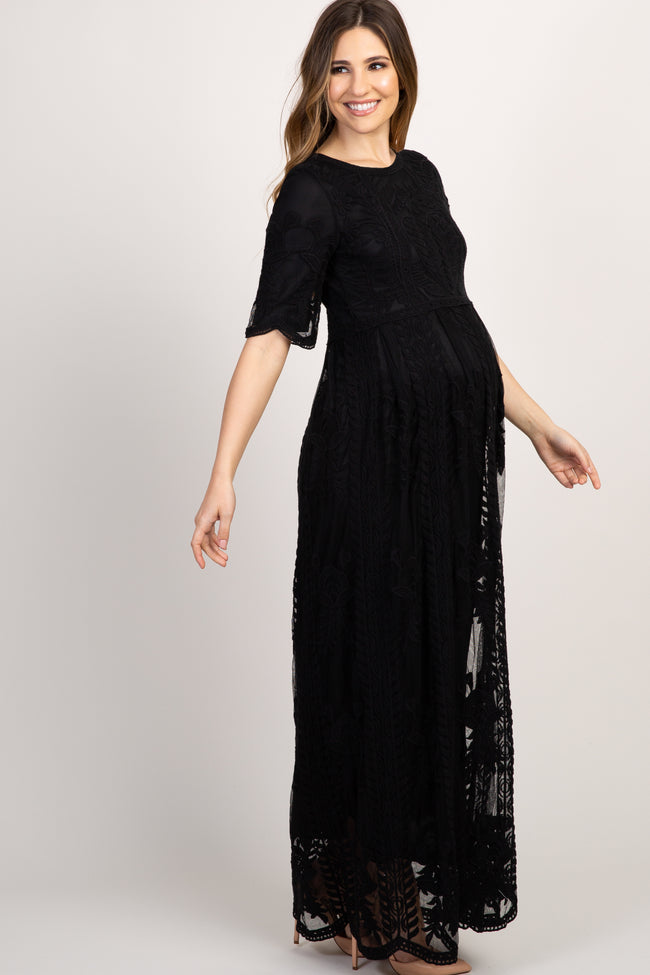 Black Lace Short Sleeve Maternity Maxi Dress