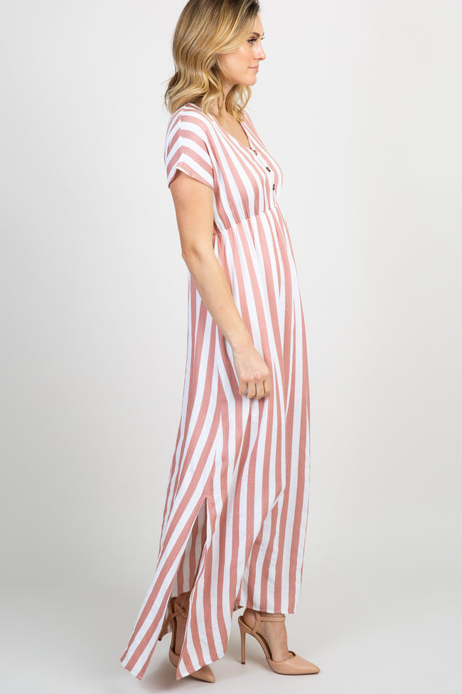 Mauve Striped Button Front Maxi Dress