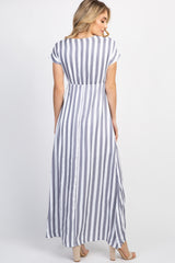 Grey Striped Button Front Maxi Dress
