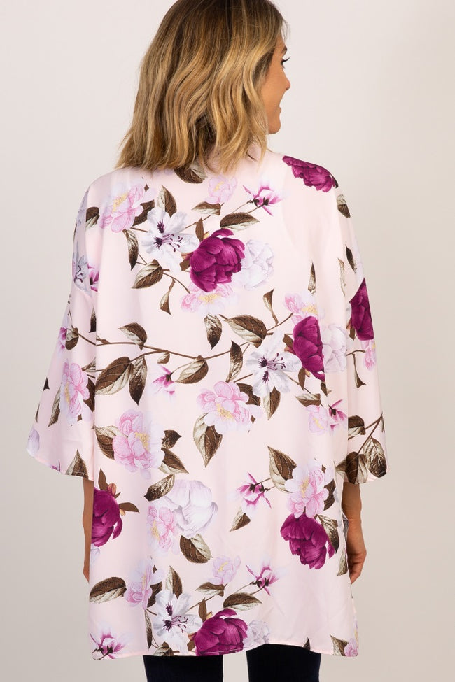 Pink Floral Chiffon Cover Up