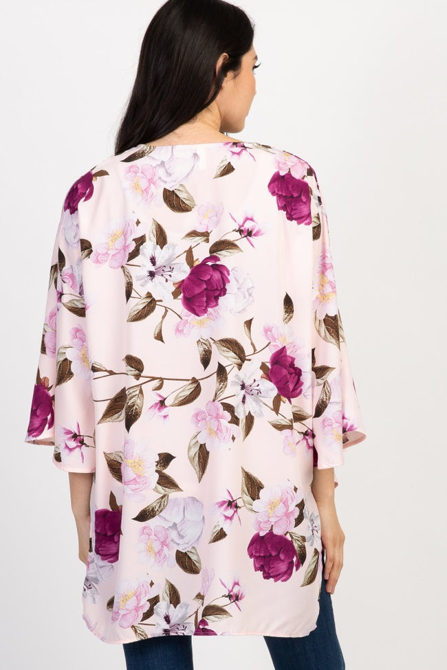 Pink Floral Chiffon Maternity Cover Up