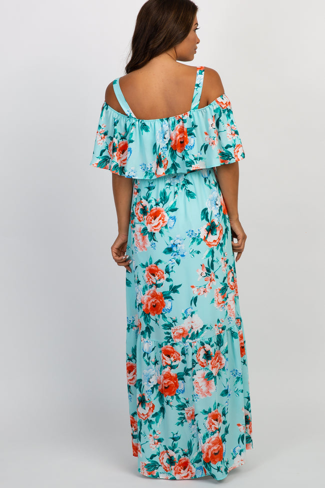 Light Blue Floral Ruffle Open Shoulder Maternity Maxi Dress