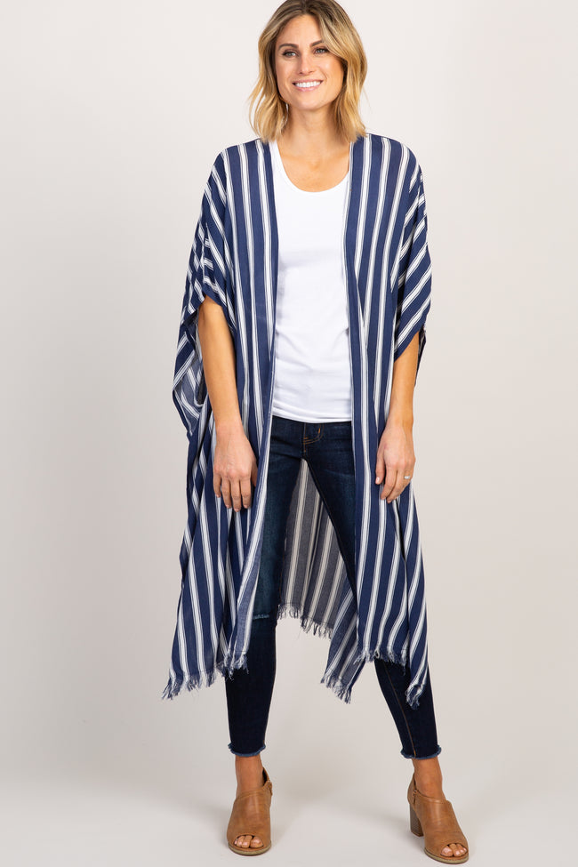 Navy Striped Side Slit Long Maternity Kimono