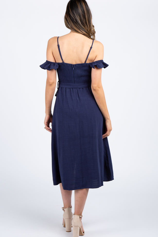 Navy Linen Off Shoulder Button Skirt Midi Dress