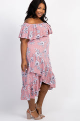 Red Pinstriped Floral Off Shoulder Ruffle Trim Plus Midi Dress