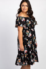 Black Floral Off Shoulder Plus Midi Dress