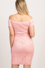 Peach Lace Off The Shoulder Maternity Dress