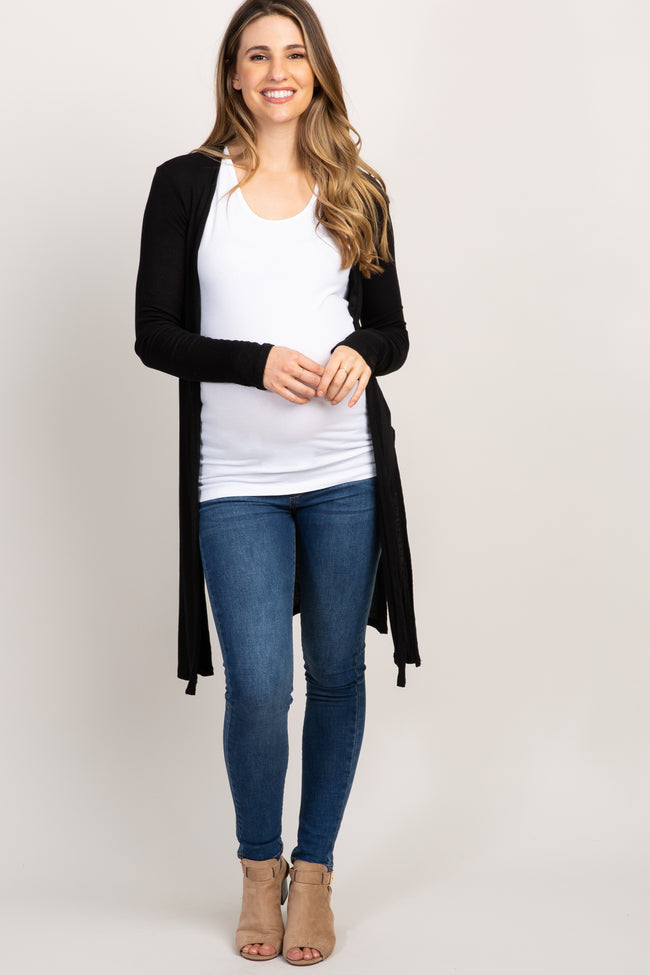 Black Solid Ribbed Knit Maternity Cardigan
