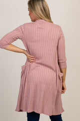 Pink 3/4 Sleeve Maternity Cardigan