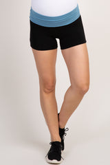 Light Blue Colorblock Foldover Maternity Shorts