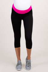 Fuchsia Colorblock Foldover Capri Active Maternity Leggings
