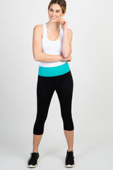 Mint Green Colorblock Foldover Capri Active Leggings