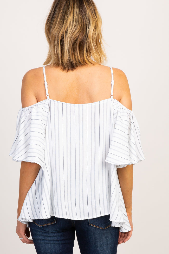 Ivory Striped Cold Shoulder Ruffle Sleeve Top