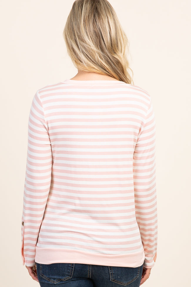 Light Pink Striped Button Sleeve Maternity Top