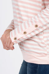 Light Pink Striped Button Sleeve Top