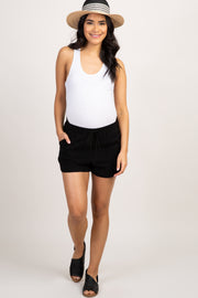 Black Linen Drawstring Maternity Shorts