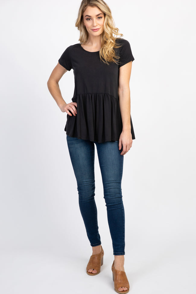 Black Solid Short Sleeve Peplum Top