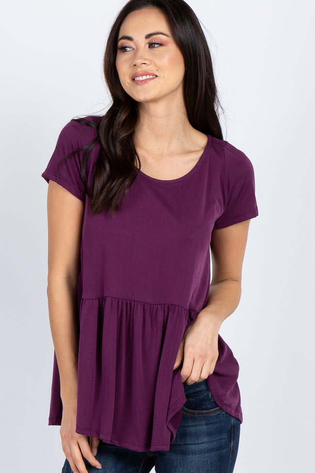 Purple Solid Short Sleeve Peplum Top