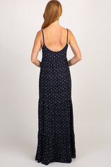 Navy Tribal Ruffle Trim Maxi Dress