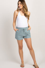 Light Blue Linen Drawstring Maternity Shorts