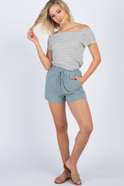 Light Blue Linen Drawstring Shorts