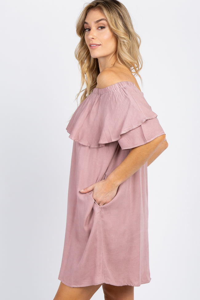 Mauve Faded Wash Off Shoulder Dress