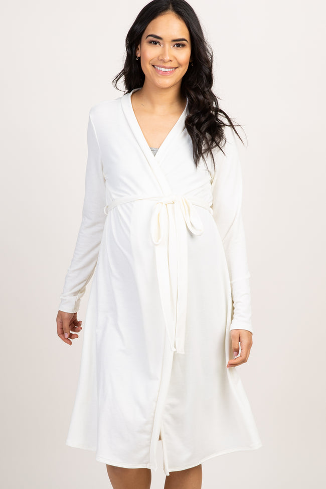White Solid Delivery/Nursing Maternity Robe