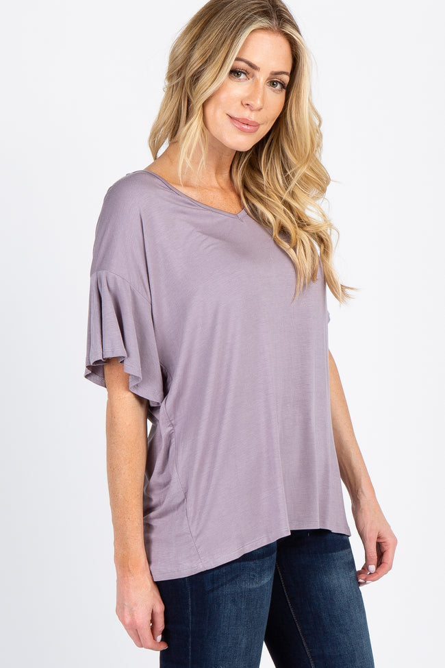 Lavender V-Neck Ruffle Sleeve Knit Top