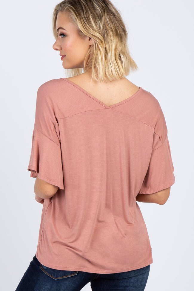 Salmon V-Neck Ruffle Sleeve Knit Top