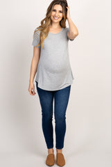 Heather Grey Short Sleeve Basic Top