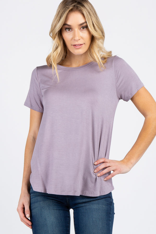 Lavender Short Sleeve Basic Maternity Top