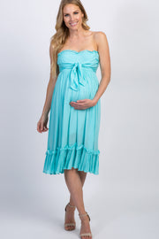 Aqua Strapless Tie Front Maternity Dress