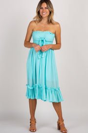 Aqua Strapless Tie Front Dress