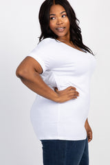 White Solid Pocket Short Sleeve Plus Maternity Top
