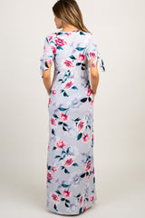 Grey Floral Sleeve Tie Maternity Maxi Dress