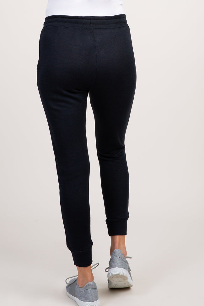 Black Cuffed Ankle Maternity Joggers