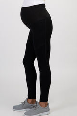 Black Faux Leather Maternity Active Leggings