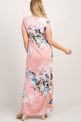Light Pink Floral Short Sleeve Maternity Maxi Dress