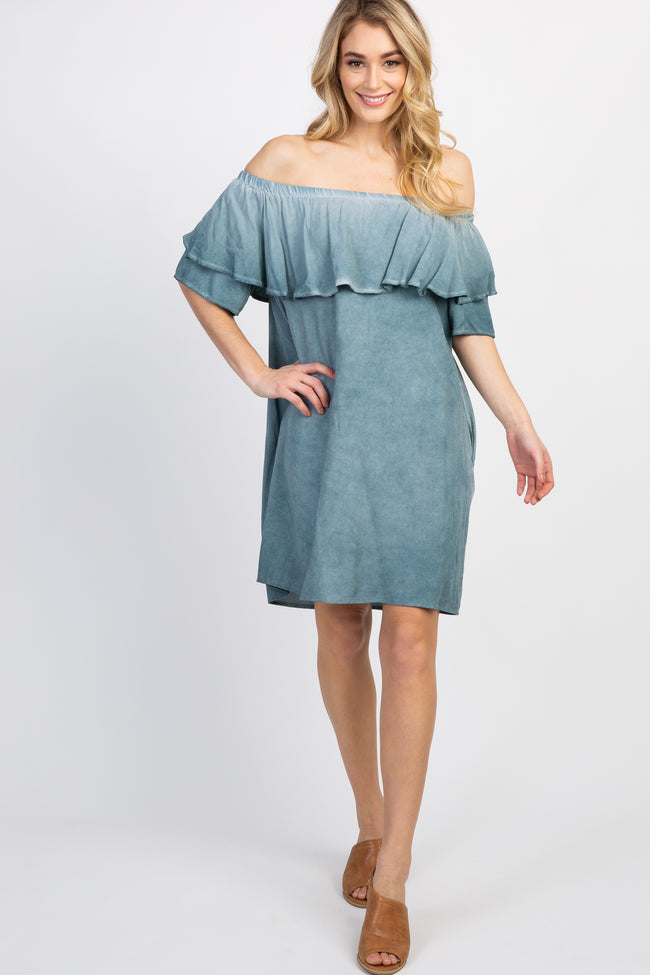 Mint Green Faded Wash Off Shoulder Maternity Dress