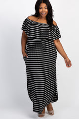 Black Striped Ruffle Off Shoulder Plus Maternity Maxi Dress