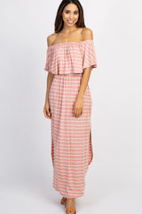 Pink Striped Ruffle Off Shoulder Maxi Dress