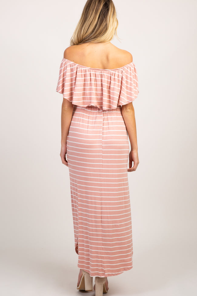 Pink Striped Ruffle Off Shoulder Maternity Maxi Dress