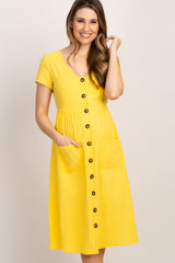 Yellow Button Front Maternity Midi Dress