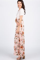 Peach Striped Colorblock Floral Maxi Dress