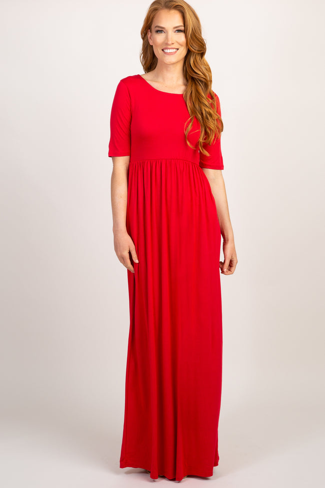 Red Short Sleeve Pleated Maternity Maxi Dress