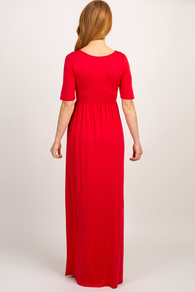Red Short Sleeve Pleated Maxi Dress