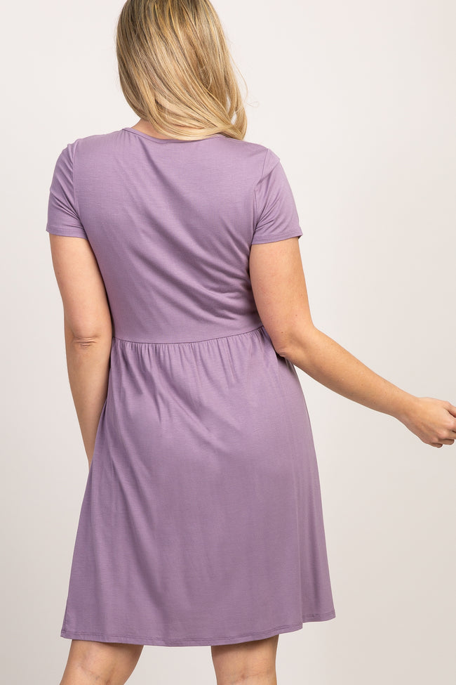 Purple Solid Crochet Trim Maternity Shift Dress