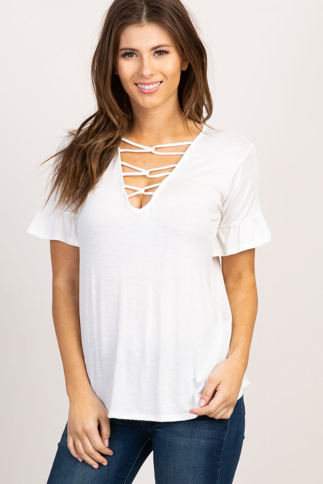 White Caged Front Ruffle Sleeve Maternity Top